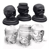 KCASA 3D Skull Ice Cube Vassoio Halloween Ice Mold Cocktiail Silicone Ice-Cream Mould Maker Skull Forma Chocolate Mold Kitchen Strumenti Set di 3