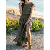 Women Solid Crew Neck Tie Waist Splited Casual Maxi Dress