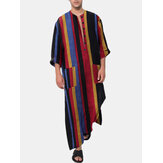 Mens Cotton Colorful Striped Print Loose Fit Home Casual Long Sleeve Robes