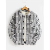Mens Plaid Button Up Warme Wolljacke mit langen Ärmeln