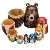 5 Nesting Dolls Wooden Aniimal Bear Rosyjska lalka Matryoshka Toy Decor Kid Gift