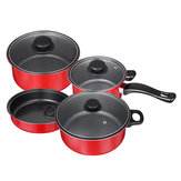 7Pcs/Set Portable Cooking Non Stick Pot Frying Pan Kitchen Cookware Cover Lids Set