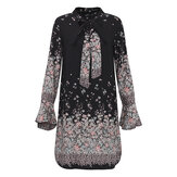 OEUVRE Elegant Women Bow Tie Floral Printed Long Bell Sleeve Mini Dress