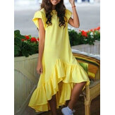 Solid Color Round Neck Ruffle Sleeve High Low Hem Women Causal Dress