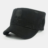 Cotton Skull Pattern Embroidery Autumn And Winter Flat Cap Men's Military Cap For Male
