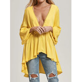 Women Long Sleeve V Neck Loose Casual Blouse Flared Tops