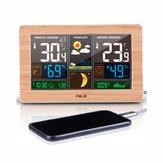 FanJuFJ3378DigitaalewekkerWeerstationBinnen Buiten Temperatuur-vochtigheidsmeter Maanfase Weersverwachting USB-oplader