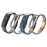 Mijobs Classic Three-bead Wristband Replacement Metal Watch Band for Xiaomi mi band 2 Smart Watch Non-original