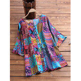 Ethnic Style Print Patchwork Plus Size Shirts