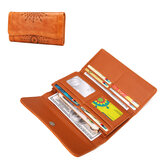 Men Women Retro Hollow Wallet Leather Long Purse Money Card Holder Handbag Camping Travel