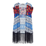 Bohemian Printed Tassels Women Beach Cardigan Short Sleeve