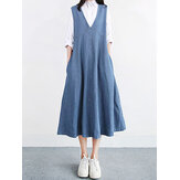 Kadın Vintage V Yaka Kolsuz Pilili Denim Elbise