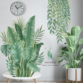 Green Plants Leaves DIY Wall Stickers Background Removable for Bedroom Kitchen Kids Room Decorations