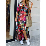Women Vintage Geometry Print Lapel Long Sleeve Double Pocket Maxi Shirt Dresses