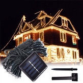 12M 100LED Solar Powered Fairy Light Christmas Holiday Party Udendørs Have Indretning