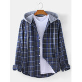 Mens Check Button Up Casual Long Sleeve Drawstring Hooded Jacket