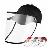 Feminino Chapéu de proteção Masculino dobrável anti-embaciamento Evite gotículas Bonés de beisebol Chapéu de espalhar Removível PVC Máscara Boné de proteção.