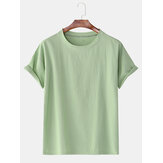 Banggood Special Offers Cotton Solid Color Breathable Short Sleeve Casual T-Shirts
