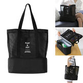 Double Layer Insulated Mesh Bag Handheld Portable Shoulder Picnic Bag Camping Travel Storage Bag