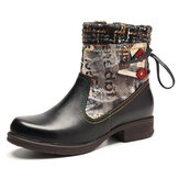 SOCOFY Retro Genuine Leather Splicing Woollen Stitching Soft Boots