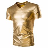 Men Shining Solid Color V-Neck Novelty T-Shirts