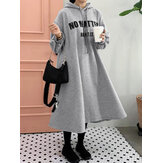 Wanita Kasual Surat Cetak Longgar Serut Lengan Panjang Simple Hooded Sweatshirt Dresses