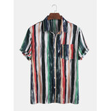 Original              Algodón para hombre Colorful Rayas estampadas Tie-Dyed Holiday Casual Camisetas de manga corta