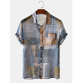 Mens Vintage Plaid Floral Pocket Breathable Short Sleeve Casual Shirts