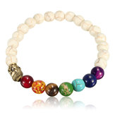 Unisex White Stone Agate Colorful Hạt cầu nguyện