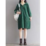 カジュアルな女性純粋な色のフード付きのコーデュロイのドレス