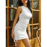 Women Sleeveless O-neck Drawstring Bodycon Mini Dress