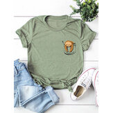 Cartoon Sloth Print O-neck Short Sleeve Women T-shirts
