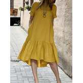 Cotton Women Solid Color Ruffles Round Neck Short Sleeve Casual Dresses