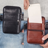 Men Genuine Leather Multi-pocket Casual Waist Bag 6.3 inch Phone Bag EDC Bag