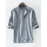 Mens 100% Algodão Botão Striped Half Sleeve Respirável Casual Henley Shirts