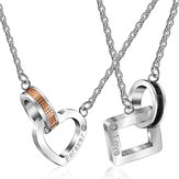 Stainless Steel Heart and Square Shape Love Forever Necklace