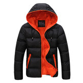Mens Winter Thermal Contrast Color Outdoor Warme Kapuzenjacke mit Kapuze