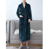 Mens Flannel Lapel Double Pocket Thick Belted Robes With Contrast Binding
