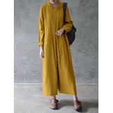 Women Mustard Yellow Solid Color Cotton Button Loose Jumpsuit With Side Pockets