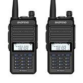 2PCS BAOFENG X3-Plus 9500mah 18W Tri-band Radio Walkie Talkie 20 KM Ricetrasmettitore UHF / VHF impermeabile 220MHz Radio Trasmettitore Spina nera UE