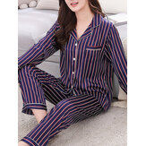 Stripe Camp Collar Pocket Long Sleeve Elastic Waist Faux Silk Home Pajama Sets For Women