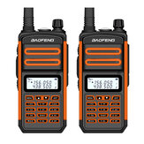 2PCS BAOFENG BF-S5plus 18W Waterproof UV Dual Band Handheld Radio Walkie Talkie Flashlight Hiking Interphone EU Plug