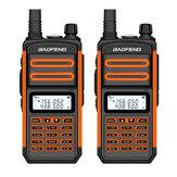 2 uds BAOFENG BF-S5plus 18W Impermeable UV Dual Banda Portátil Radio Walkie Talkie Linterna Senderismo Interphone Enchufe de la UE