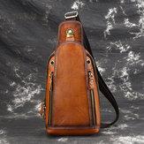 Men Brushed Vintage Genuine Leather Chest Bag Shoulder Bag