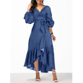 Women Denim Irregular Ruffle Hem Puff Sleeve Belted V-Neck Midi Dress