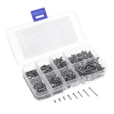 Suleve™ M2CP1 800pcs M2 Phillips Screw Flat Head Nickel-Plated Carbon Steel Self-Tapping Woodworking Screws Assortment Kit
