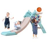 Scivolo per bambini 3 IN 1 e altalena Set da gioco per scivolo rampicante dotato di scala da arrampicata Scivolo Canestro da basket Regali di Natale