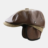 Men Faux Leather Retro Casual Solid Color Ear Protection Forward Hat Octagonal Hat Beret Cap