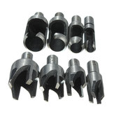 8pcs Wood Plug Cutter Straight/Tapered Claw Type Drill Bit Set
