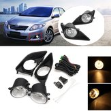 Car Front Bumper Fog Lights H11 Bulbs Amber with Covers Switch for Toyota Corolla 2008-2010